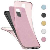 Handy Hülle Samsung Galaxy S9 / S9 Plus Full Case Glitzer Schutzhülle Cover Klar