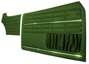 For VW KARMANN GHIA DOOR PANEL SET GREEN WITH CHROME TRIM