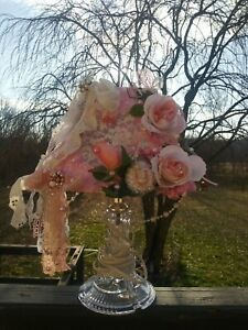 shabby pink chic lampshade beautiful handmade