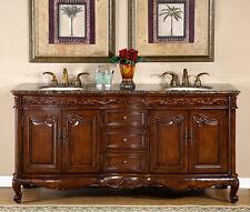 """72"""" Baltic Brown Granite Top Bathroom Lavatory Double Sink Vanity Cabinet 8034BB"""