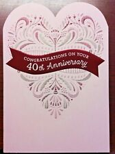 40TH Happy ANNIVERSARY Card for PARENTS -FRIENDS- MOM and DAD Hallmark 70A