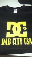 DC DAB CITY USA MEN'S TSHIRT 710 DAB OIL DROP ENAIL RIG RARE black and yellow!