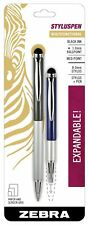 Telescopic Stylus Pen Ballpoint 1mm Black Ink Zebra Home Office Supply 2 Pack