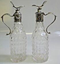 Circa : 1770 Georgian Cut Crystal & Sterling Silver Cruet (+) a matching one
