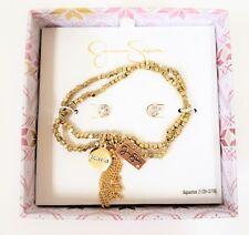 Stretchy Beaded Tassel Bracelet+Stud Earring Jessica Simpson Aquarius Set Gold