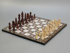 YENIGUN WOODEN FLAT BOARD PIECES CHESS SET WITH MOTHER OF PEARL DESIGN