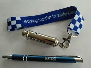 British Metropolitan Police Whistle With Keyring And Metal Pen