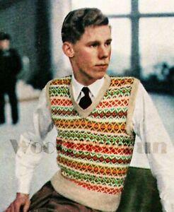 """Knitting Pattern Vintage Men's 40s/50s Fair Isle Slip Over/Jumper.36""""-42"""" Chest."""