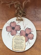 Artist Signed Round Tan & Brown Round Pottery Tile with Dogwood Flowers & Legend