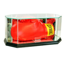 NEW REAL GLASS BOXING GLOVE DISPLAY CASE WITH BLACK WOOD AND MIRROR BACK