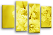 FLORAL FLOWER ART Picture Yellow Grey White Spring Blossom Canvas Wall Split
