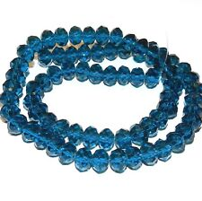 """CR611L2 Dark Teal Blue 10x8mm Rondelle Faceted Cut Crystal Glass Beads 22"""""""