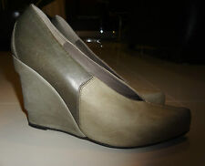 LD TUTTLE Green/Olive Distressed Leather Wedge Shoes Size 39 Made in Italy