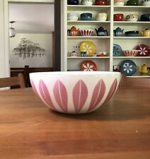 CATHRINEHOLM PINK AND WHITE LOTUS BOWL 9 1/2 INCH RARE