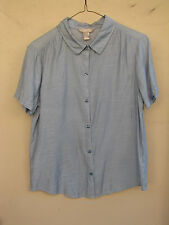 WHITE STAG ~ Size M ~ Blue Striped Rayon Nylon  Short Sleeve Blouse ~ SHIPS FREE