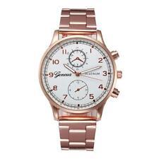 Fashion Man Women Crystal Stainless Steel Analog Quartz Wrist Watch White