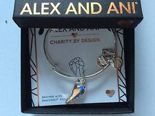 Alex and Ani Crystal Wing Bangle Bracelet Shiny Silver NWTBC