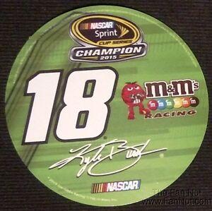 """Kyle Busch 2015 Sprint Cup Champion 4"""" Round Auto Decal Sticker Nascar Racing"""