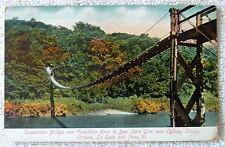 1911 POSTCARD SUSPENSION BRIDGE OVER VERMILLION RIVER TO DEER PARK GLEN ILLINOIS