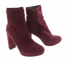 Forever Womens Dark Red Suede Ankle Boots with Side Zipper 4 inch Heel