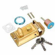 Brass Front Door Lock Night Latch Rim Yale Type Cylinder Standard Security Latch