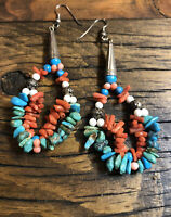 #1055 Navajo Handmade Earrings, Turquoise, Coral, Sunrise Stamped Cones, Jacla
