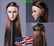 "1/6 Female Head Sculpt Long Braided Hair For 12"" Phicen Hot Toys Figure ❶USA❶"
