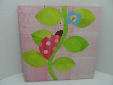 Canvas Wall Art by Lorena Siminovich, Lady Bug on Pink - 15 x 15 - VGC
