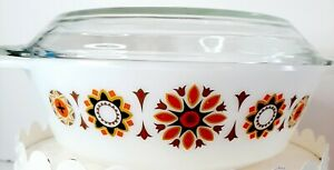 Vintage JAJ Pyrex Milk Glass Toledo Pattern Round Casserole Dish + Lid England