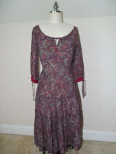 Vintage 60s 70s Boho HIPPIE Peasant DRESS 100% RAYON Paisley 3 Tiers PLEATS