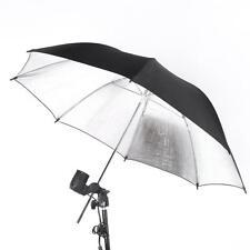 "83cm 33"" Studio Photography Strobe Flash Light Reflector Black Silver Umbrella"