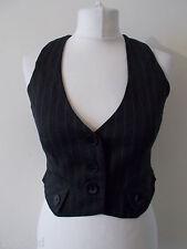 Women's Brown Stripe  V Neck Waistcoat  Vest By Papaya Size 10