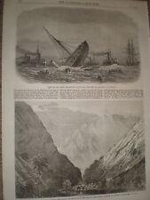 Wreck of Greece war ship Bouboulina at Liverpool 1867 old print