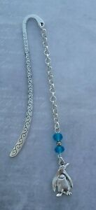 Tibetan Silver Bookmark BLUE GLASS BEADS & PENGUIN - Gift/Present. BIRD.