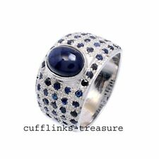 Natural Blue Sapphire Gemstones With 925 Sterling Silver Ring For Men's
