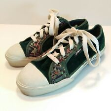 Vintage Made in Usa Vans Green Velvet Tapestry Shoes Sneakers Size 6.5