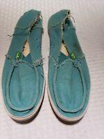 SANUK Women's Blue-Green Canvas Slip On Sidewalk Surfer Beach Shoes Size 7 EUC