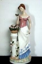 Large Lady with Flowers Porcelana de Cuernavaca Figurine