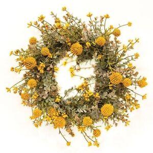 "New Farmhouse Primitive FALL MUSTARD EUCALYPTUS FLORAL CANDLE RING Wreath 6"""