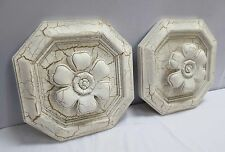 Vintage Pair of Plaster Floral Wall Decorations - White w/Gold Gilt