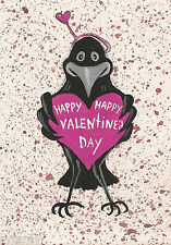 ACEO PRINT OF PAINTING RAVEN CROW HAPPY VALENTINES DAY FOLK ART GIFT LOVE FUNNY