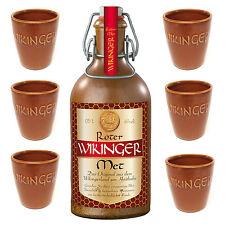 Wikinger Roter Met Honigwein 1 Tonflasche Met 0,5l + 6 Met Tonbecher 0,1 l Wein