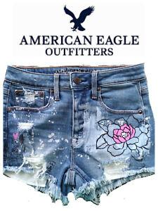 🆕AMERICAN EAGLE JUNIORS Sz 2 Painted Jean Shorts 'I Love Ya' Distressed