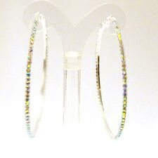 IRIDESCENT CRYSTAL HOOP EARRINGS  3 INCH CRYSTAL GOLD OR SILVER THIN HOOPS