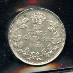1920 Canada Ten Cents - ICCS AU-50 Cert#XM654
