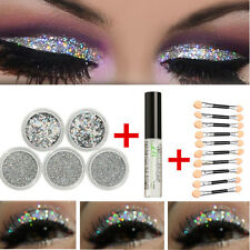 Glitter Eyes Set 5 Pots Loose Powder Glitter Eye Shadow + Fix Gel + 10X Brush