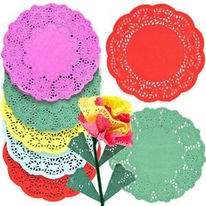 Coloured Round Paper Doillies - Assorted - 16cm - Pack of 120