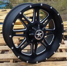 "20"" Matte Black Lonestar Outlaw Wheels Dodge Ram Jeep 20x9 inch 5x5 5x5.5 Rims"