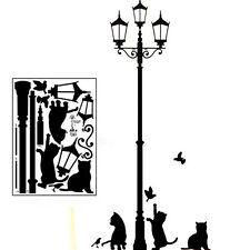 Vogue Cats Street Lamp Light Stickers Wall Decal Removable Art Vinyl Mural Decor