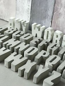Handmade Concrete Letters Natural Concrete or Marble Effect. Alphabet. Gift
